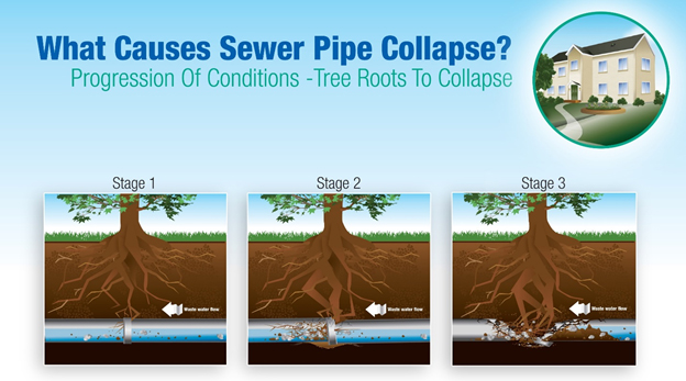 What causes sewer pipe collapse?
